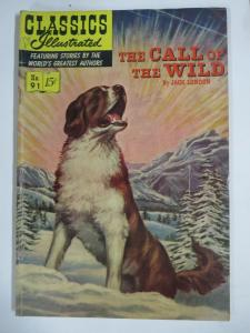 CLASSIC ILLUSTRATED #91 (G-VG) THE CALL OF THE WILD(1ST Edition, HRO=92)Jan 1952