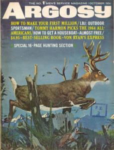 Argosy 10/1964-Popular Pubs-pulp fiction-Von Ryan's Express-LBJ-WWII-VG