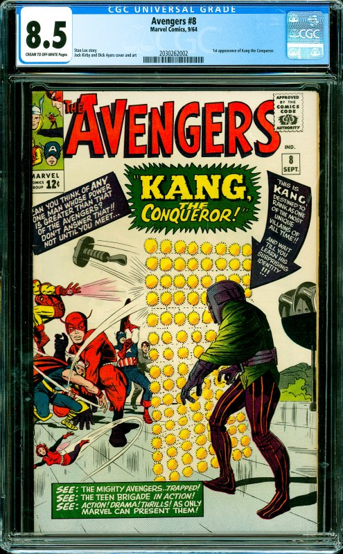 Avengers #8 CGC Graded 8.5 1st appearance of Kang the Conqueror.