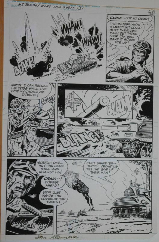 SAM GLANZMAN original art, G I Combat #249 Pg 6, 11x16, WWII, Haunted Tank