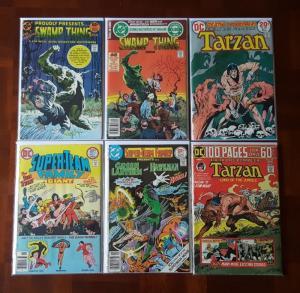 SIX 70s DC COMICS - SWAMP THING, TARZAN, TEEN TITANS, GREEN LANTERN, HAWKMAN