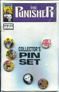 Punisher Pinback Button Set of 6 Buttons 1970's-sealed in original plastic-1 ...