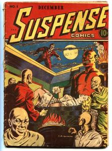 Suspense Comics #1 1943-Wild NAZI Swastika branding cover!-CONTINENTAL
