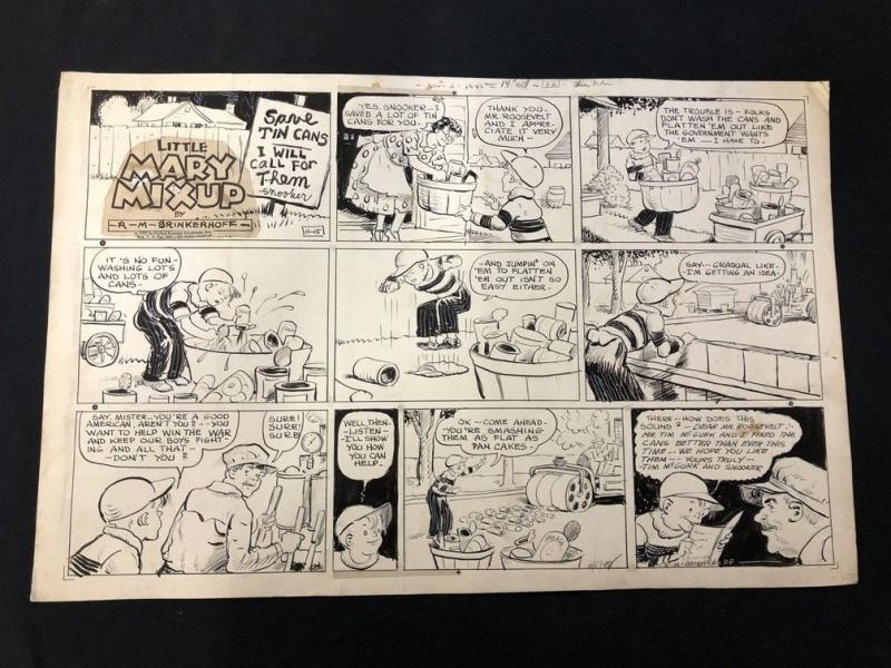 Little Mary Mixup Original Comic Strip Art  November 15 1942- RM BINKERHOFF