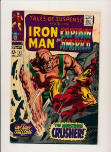 MARVEL TALES OF SUSPENSE  IRON MAN&CPT. AMERICA#92 1st app CRUSHER G/VG (PF696)