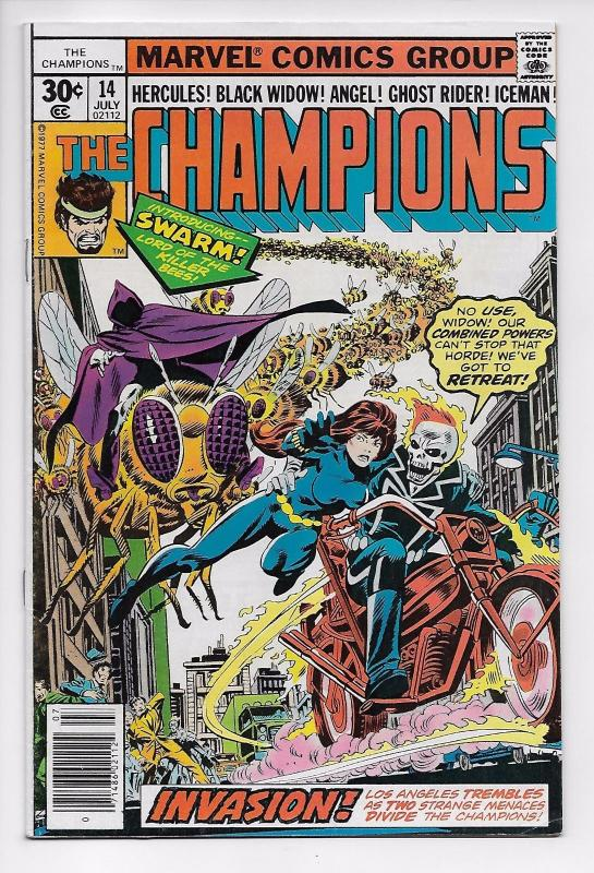Champions #14 Ghost Rider / Black Widow / 1st App of Swarm (Marvel, 1977) FN/VF