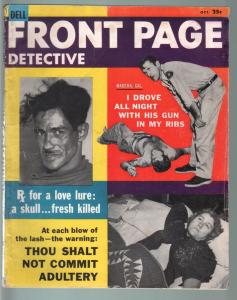 FRONT PAGE DETECTIVE OCT 1957-ADULTERY-KIDNAP-KID KILLER-TRUE CRIME PULP MAG G