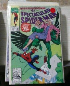 SPECTACULAR  SPIDER-MAN # 187 1992 MARVEL  VULTURE AUNT MAY+FUNERAL ARRANGEMENT