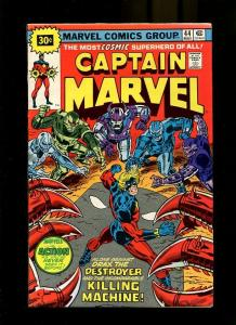 CAPTAIN MARVEL 44-1976-KILLING MACHINE FIGHTS OTHERS FN