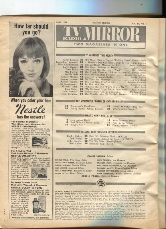 JUNE 1965 TV RADIO MIRROR vintage movie magazine PEGGY LENNON