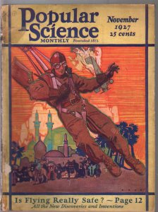 Popular Science 11/1927-Is Flying Safe-parachute plane crash-pulp fiction-FR