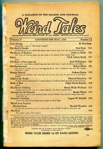Weird Tales Pulp May 1936- Faceless God, Devils Double reading copy