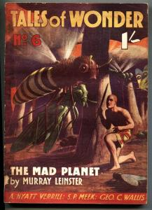 Tales of Wonder #6 1939 Insect attack cover-Rare BRITISH pulp
