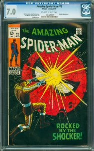 Amazing Spider-Man #72 CGC Graded 7.0 Shocker appearance.