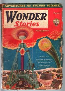 WONDER STORIES 1931 AUG-SCI FI PULP-GREAT COVER ART G