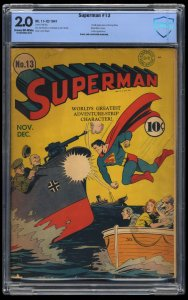 Superman #13 CBCS GD 2.0 Cream To Off White WWII Action Cover!