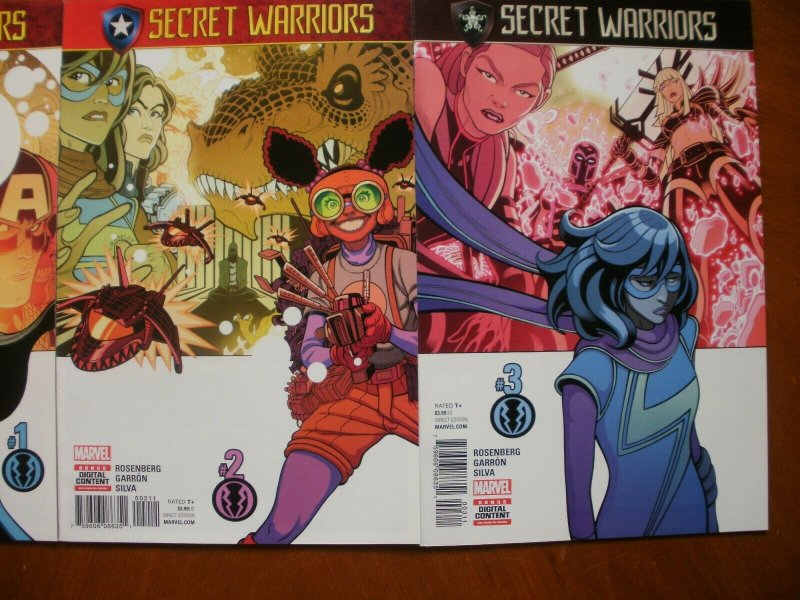 3 Near-Mint Marvel Comic SECRET WARRIORS #1 #2 #3 (2017) Rosenberg Garron Silva