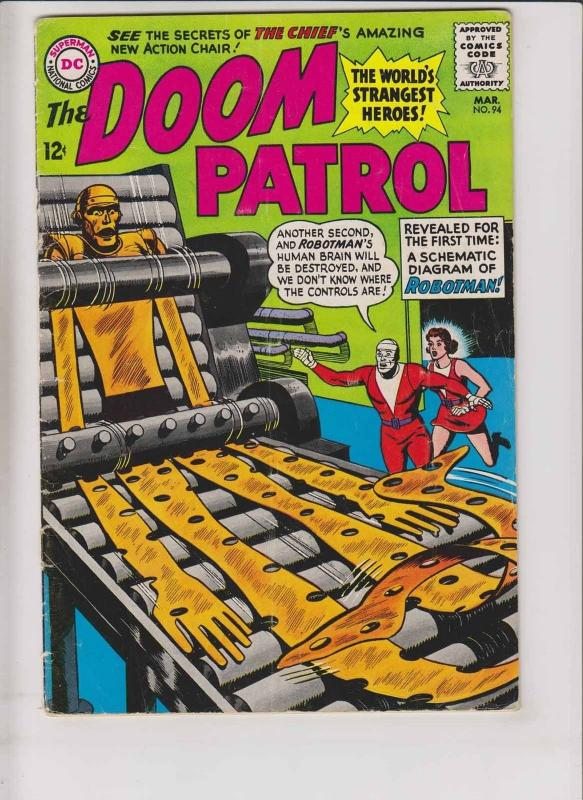 Doom Patrol #94 VG/FN march 1965 - robotman schematic diagram issue - silver age