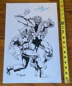 CAPTAIN AMERICA v SABRETOOTH COMIC BOOK ART PAGE SIGNED PRINT JOHN HEBERT 11x17