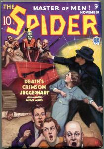 SPIDER NOV 1934-DEATHS CRIMSON JUGGERNAUT-RARE HIGH GRADE PULP- VF