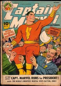 CAPTAIN MARVEL ADVENTURES #41-CAPT. MARVEL FOR PREZ! G/VG