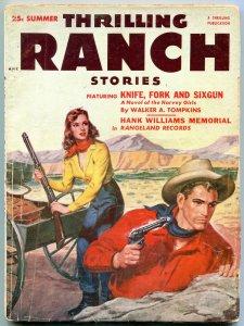Thrilling Ranch Stories Pulp Summer 1953-Hank Williams- Harvey Girls G/VG