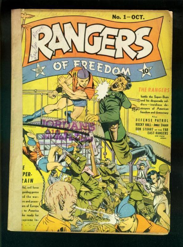 RANGERS OF FREEDOM #1 1941-FICTION HOUSE-WILD COVER-WW2 G