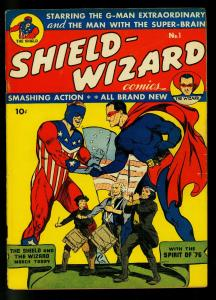 Shield Wizard #1 1940- MLJ/Archie Golden Age Comic- Flag cover- FN-