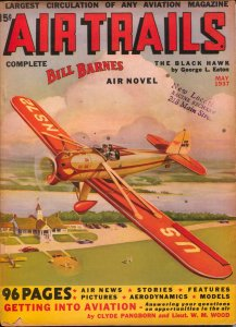 Air Trails 5/1937-Bill Barnes-hero pulp-George L Eaton-Tinsley cover-VG