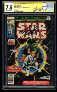 Star Wars #1 CGC VF- 7.5 35 Cent Variant SS Signed by Stan Lee and Mark Hamill!