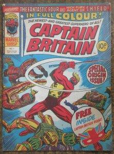 CAPTAIN BRITAIN #1 (Marvel UK, 10/1976) VG NO MASK- BACK COVER TEAR/STAIN FCfold