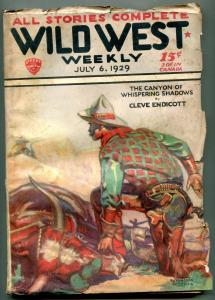 Wild West Weekly Pulp July 6 1929- 1st Sonny Tabor?- Canyon Whispering Shadows