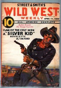 WILD WEST WEEKLY-4/11/1936-PULP-SILVER KID FN