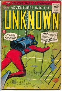 Adventures Into The Unknown #106 1959-ACG-dinosaur story-Ogden Whitney-VG