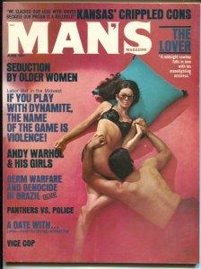 Man's Magazine 6/1970-Andy Warhol-Germ Warfare-cheesecake-exploitation-VG