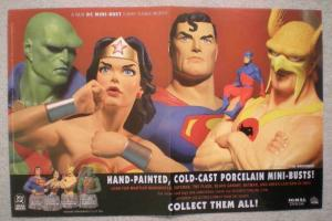 DC MINI-BUSTS Promo poster, Superman, Wonder Woman, Unused, more in our store