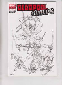 Deadpool Corps #1 VF/NM ed mcguinness sketch variant - black white - marvel rare