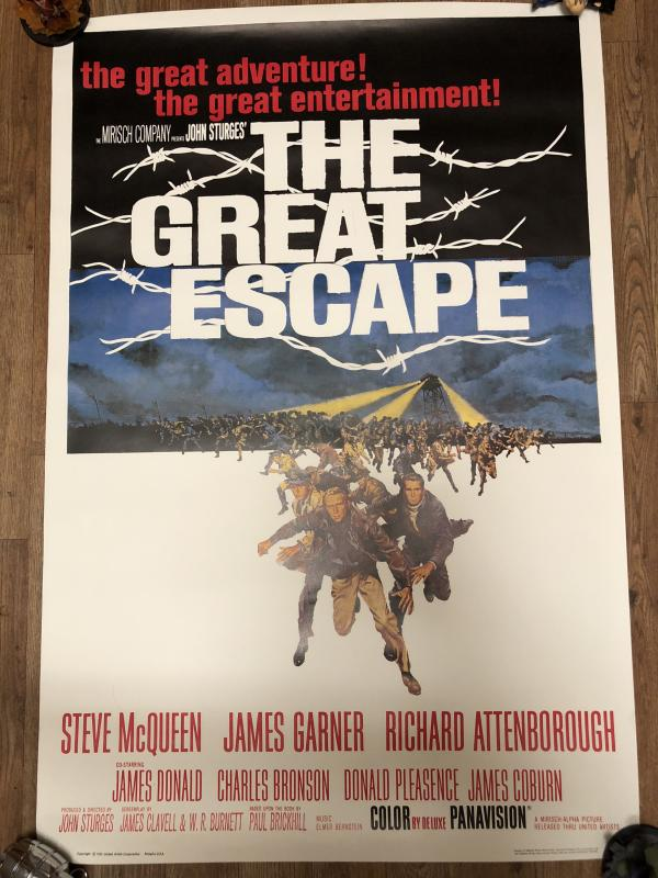 The Great Escape 1963 original theater movie poster 27x40 near mint