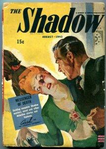 The Shadow Pulp August 1943-Messenger of Death- Modest Stein G/VG
