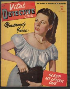 Vital Detective Cases 9/1945-Gun moll-violent-pulp thrills-crime stories-VG+