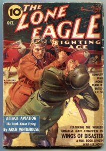 Lone Eagle Pulp October 1939- Wings of Disaster G/VG