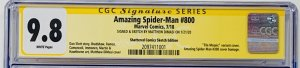 Amazing Spider-Man #800 CGC 9.8 Shattered Edition Signed & Sketch by Dimasi