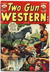 TWO GUN WESTERN #12-1952-APACHE KID-TEXAS KID-KID COLT-ATLAS-JOE MANEELY ART
