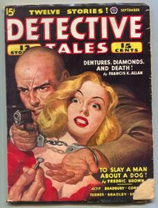 Detective Tales Pulp September 1944- Bradbury- Dentures Diamonds