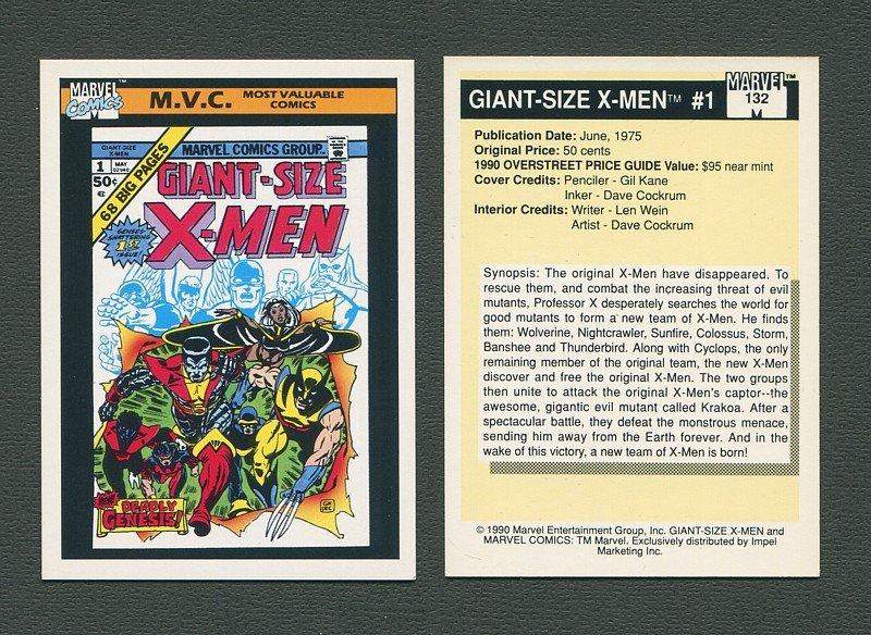 1990 Marvel Comics Card  #132 (Giant Size X-Men #1 Cover) / MINT