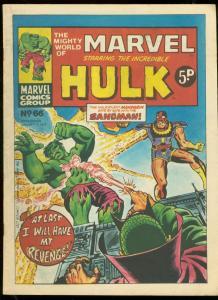 MIGHTY WORLD OF MARVEL #66 1974-HULK COVER-BRITISH VG