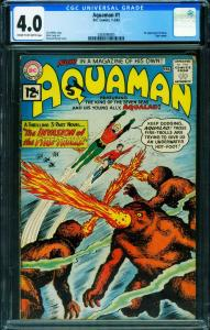 Aquaman #1 CGC 4.0 1st issue DC key issue Silver Age comic 1962 0283096005