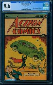 Action Comics 1 1938 CGC 9.6 OW Rare Sleeping Bag Reprint! 1976