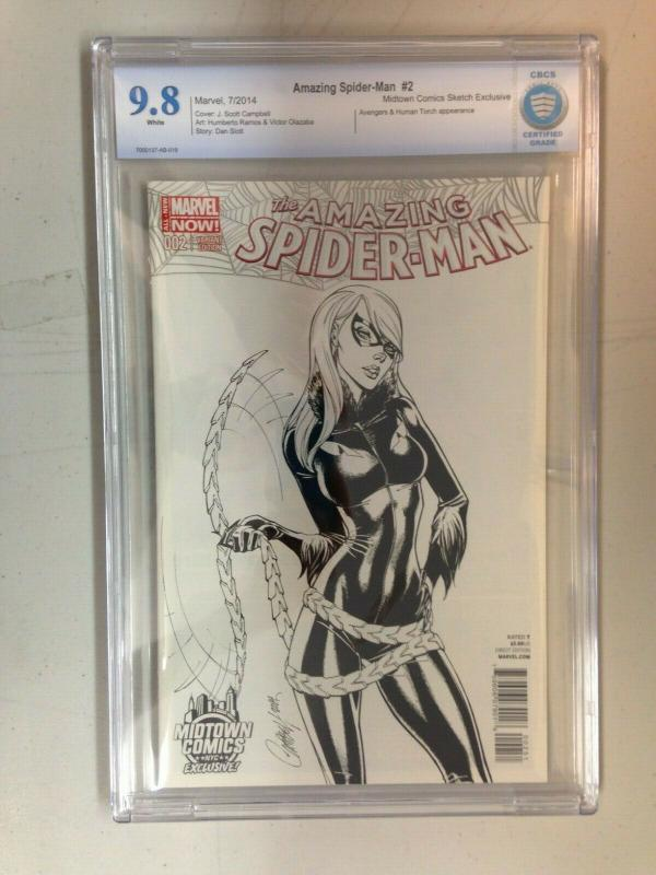 Amazing Spider-Man 2 Midtown B&W Exclusive (2014) CBCS 9.8 Campbell Cover
