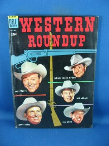 WESTERN ROUNDUP 8 F+ PHOTO COVER GENE AUTRY ROY ROGERS 1954 DELL GIANT